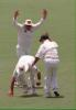 Taylor raises his arms as Mark Waugh catches Crawley The Ashes, 1998/99, 3rd Test Australia v England Adelaide Oval 11,12,13,14,15 December 1998