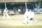 MP Sorab goes on the front foot to defend Kanwaljit Singh, Kerala v Hyderabad, Ranji Trophy (South Zone League) 1999/00, 24-27 November 1999 at Regional Engineering College Ground, Kozhikode