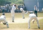 S Shanker goes onto the backfoot and plays MF Ahmed down the pitch, Kerala v Hyderabad, Ranji Trophy (South Zone League) 1999/00, 24-27 November 1999 at Regional Engineering College Ground, Kozhikode.