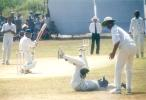 Sathyaseelan Sasikanth has just edged MF Ahmed past a diving Youraj Singh for four, Kerala v Hyderabad, Ranji Trophy (South Zone League) 1999/00, 24-27 November 1999 at Regional Engineering College Ground, Kozhikode.