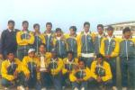 The runner-up Bihar team with Sundram Trophy at Keenan Stadium, Jamshedpur, Cooch Behar Knock-outs, 19 December 1999