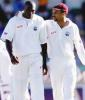 West Indies skipper has a quiet word with quickie Marlon Black, The Frank Worrell Trophy, 2000/01, 2nd Test, Australia v West Indies, W.A.C.A. Ground, Perth, 01-05 December 2000 (Day 1).
