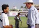 Ganguly in conversation with Tony Greig, Zimbabwe in India, 2000/01, 1st One-Day International, India v Zimbabwe, Barabati Stadium, Cuttack, 02 December 2000.