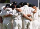 The Australians huddle, Rugby style, after beating the West Indies, The Frank Worrell Trophy, 2000/01, 2nd Test, Australia v West Indies, W.A.C.A. Ground, Perth, 01-05 December 2000 (Day 3).