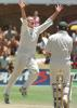 Kerry Walmsley celebrates after knocking over Daryll Cullinan's offstump, New Zealand in South Africa, 2000/01, 2nd Test, South Africa v New Zealand, Crusaders Ground, St George's Park, Port Elizabeth, 30Nov-04Dec 2000 (Day 4).