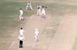 V Bharadwaj cover drives AnanthaPadmanabhan. Ranji Trophy South Zone League 2000/01, Kerala v Karnataka, Nehru Stadium, Kochi, 22-25 November 2000