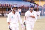 M Beerala and J Arun Kumar go out to open the Karnataka innings. Ranji Trophy South Zone League 2000/01, Kerala v Karnataka, Nehru Stadium, Kochi, 22-25 November 2000