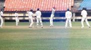 Mahesh plays the ball from Suresh Kumar to the off side. Ranji Trophy South Zone League 2000/01, Kerala v Karnataka, Nehru Stadium, Kochi, 22-25 November 2000