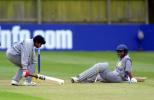 Sri Lankan batter Champa Sugathadasa is run out after partner Hiroshi Abeysinghe find