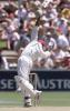 West Indies opening batsman Sherwin Campbell takes evasive action from a bouncer delivered by fast bowler Glenn McGrath during the first day of the third test against the West Indies at the Adelaide oval 15 December 2000. At lunch the West Indies are 2 for 61 runs, with Australia currently leading the five test series against the West Indies 2-0.