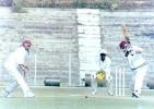 Ganesh Kumar plays the off drive. Ranji Trophy East Zone League, 2000/01, Tripura v Assam, Maharaja Bir Bikram College Stadium, Agartala, 14-16 December 2000.