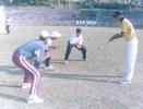 Sourav Dasgupta practises with his players. Ranji Trophy East Zone League, 2000/01, Tripura v Assam, Maharaja Bir Bikram College Stadium, Agartala, 14-16 December 2000.