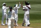 Bangladesh bowler Manjural Islam (right, facing away) celebrates with team-mates after dismissing New Zealand batsman Matt Horne (second from left), caught behind by wicket-keeper Khaled Mashud for 38. 2nd Test: New Zealand v Bangladesh at Basin Reserve, Wellington, 26-30 Dec 2001 (29 December 2001).