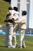 Bangladesh bowler Hasibul Hossain (centre) hugs Mashrafe Mortaza in celebration after dismissing New Zealand batsman Mark Richardson, caught by Mashrafe at mid on for 83. Captain Khaled Mashud (right) joins in the celebration. 2nd Test: New Zealand v Bangladesh at Basin Reserve, Wellington, 26-30 Dec 2001 (29 December 2001).