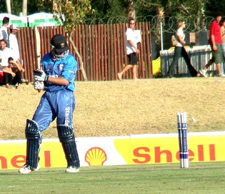 WP's Neil Johnson is cleaned bowled by Boland paceman Willem du Toit