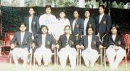 UWCC tour to Sindh, R-L Nabila Asif Sec SWCA, Azraa Parveen Sec PWCA, Attiya Amin, Raeesa Ilyas and other players, Karachi, 1982