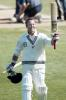 New Zealand batsman Mark Richardson raises his bat to acknowledge the crowd as he leaves the field after New Zealand won the match, beating India by 10 wickets. Richardson scored 14 not out in his second innings and hit the winning runs. 1st Test: New Zealand v India at Basin Reserve, Wellington, 12-16 December 2002 (14 December 2002).