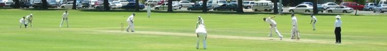Academy bowler Tremlett pitches one outside off to Test batsman Butcher at Richardson Park in Perth Western Australia. The Test players won the match by six wickets.