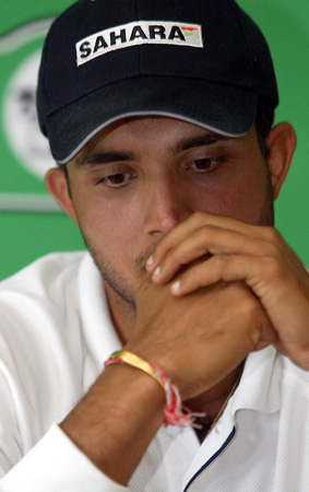 Ganguly shows his disappointment at the post-match press conference. 2nd Test: New Zealand v India at Hamilton, 19-23 Dec 2002